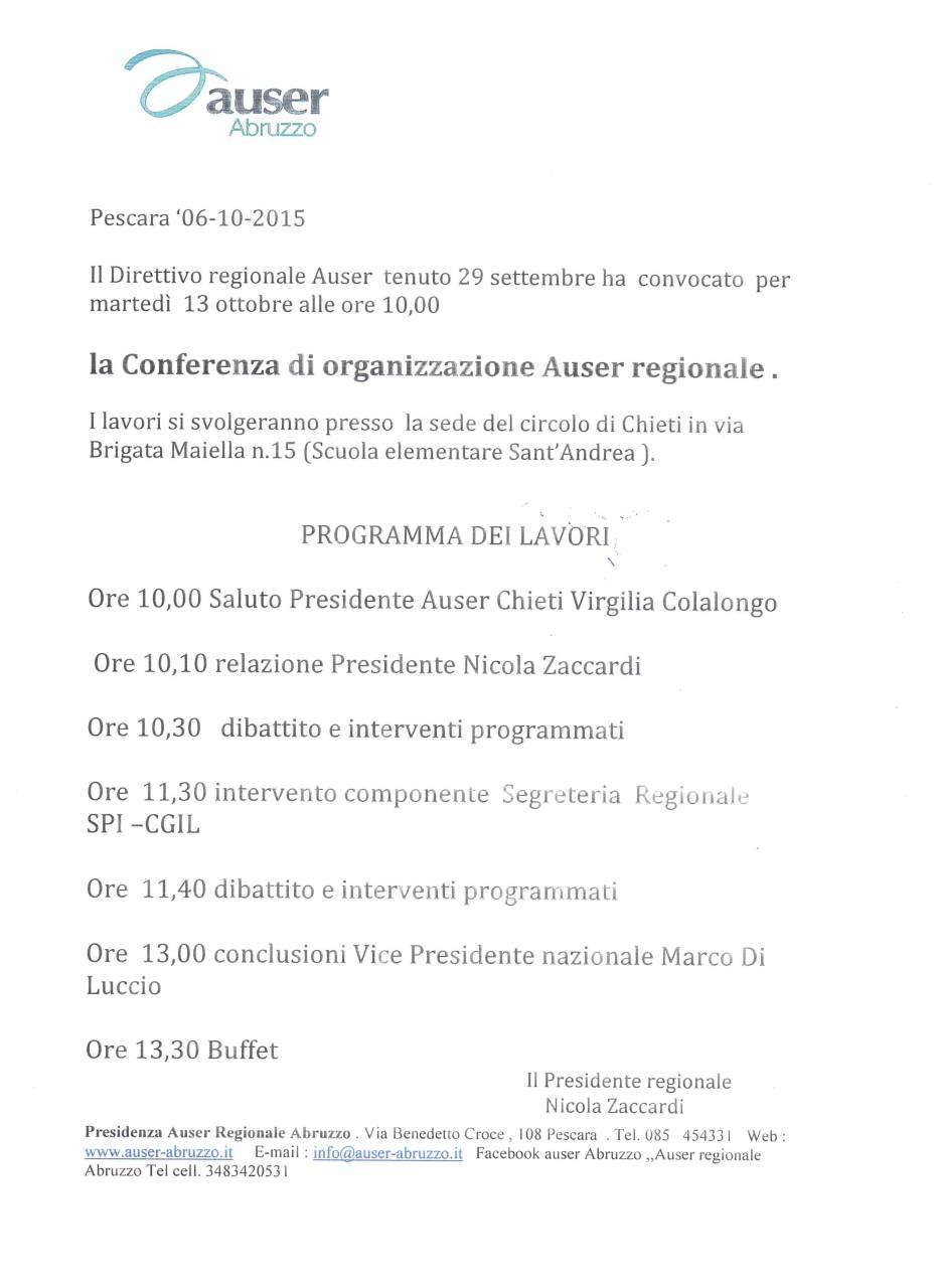 Conferenza di organizzazione .